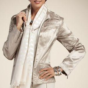 Chico's metallic jacket portrait collar zippers 3